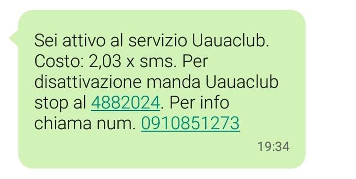 uauaclub sms disattivare