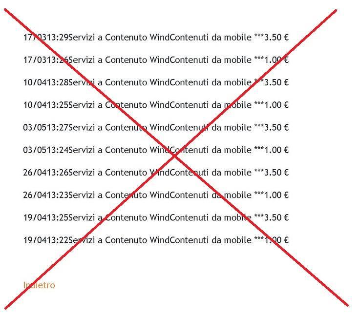 screenshot dettaglio traffico wind non valido