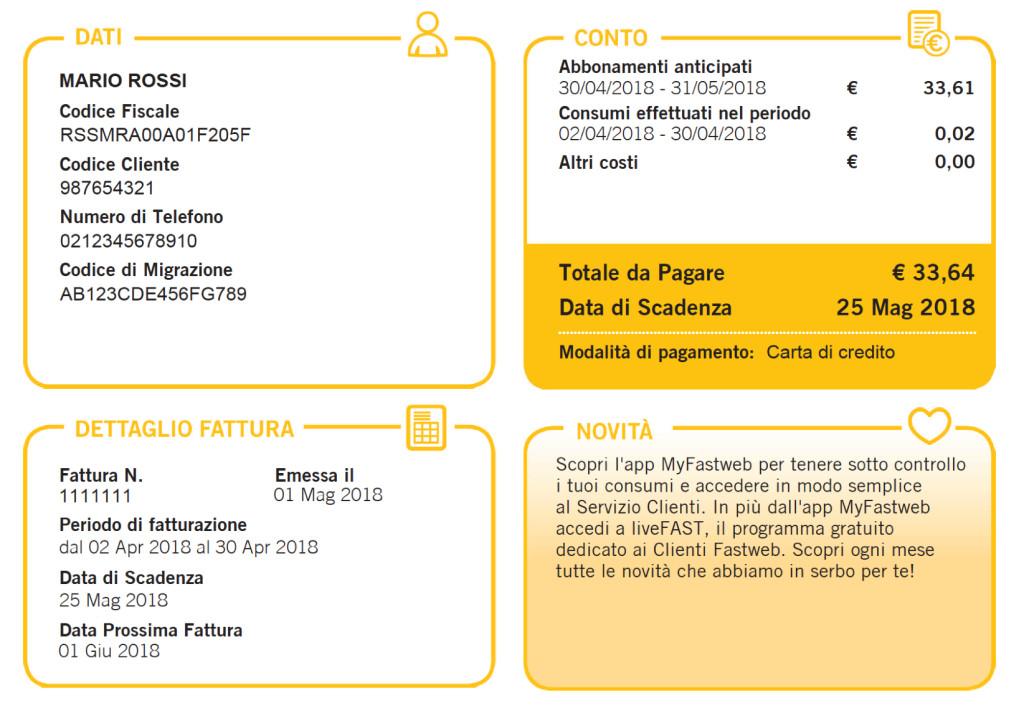 Puoi trovare il codice di migrazione Fastweb nella prima pagina della fattura