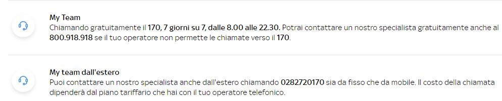Numeri per assistenza clienti sky wifi