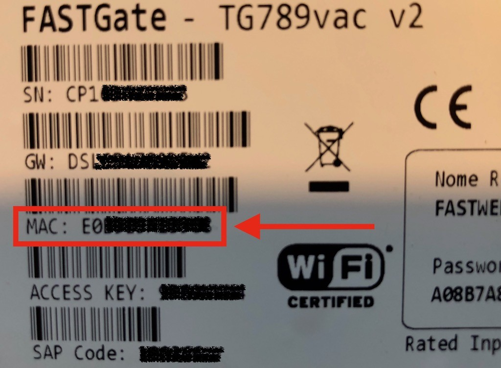 codice mac modem Fastweb