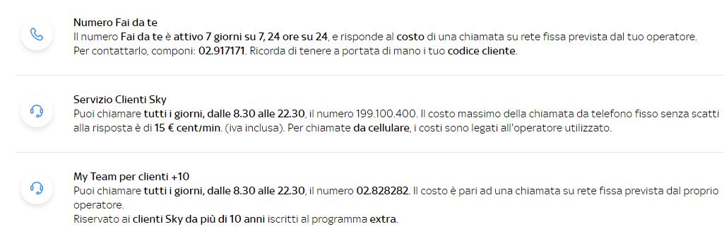Numeri per il servizio  clienti sky tv