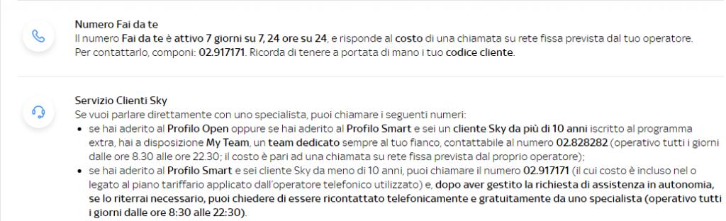 Numeri per il servizio clienti di Sky Open e Smart